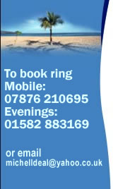 To book ring 07876 21069 or email michelldeal@yahoo.co.uk